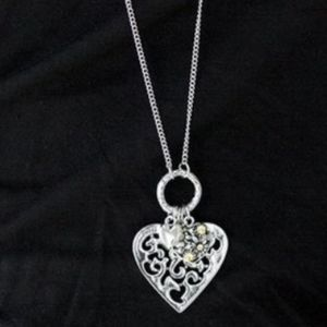"""Bountiful Hearts""-Filigree Silver Heart Necklace"